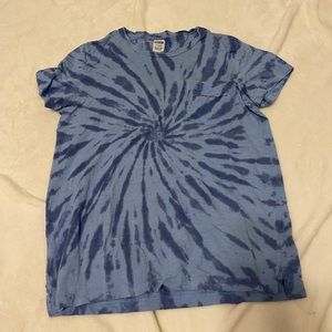 PINK Blue Tie Dye Pocket Tee